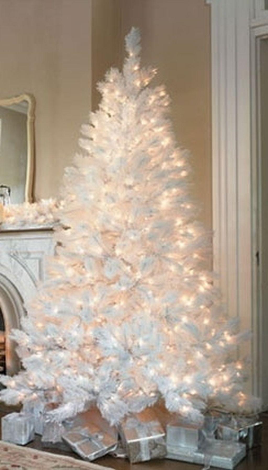 Marvelous 48 Inspiring Rustic White Christmas Tree Decoration Ideas