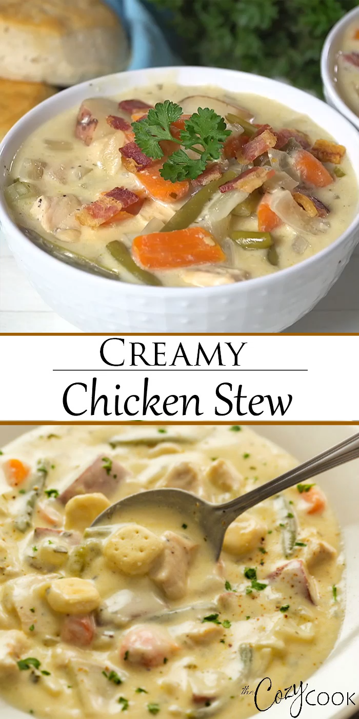 This easy Creamy Chicken Stew is an classic comfort food that you can make on the Stove Top, Crock Pot, or Instant Pot! Serve it over biscuits or top it with dumplings! #souprecipes #comfortfoods #dinnerrecipe