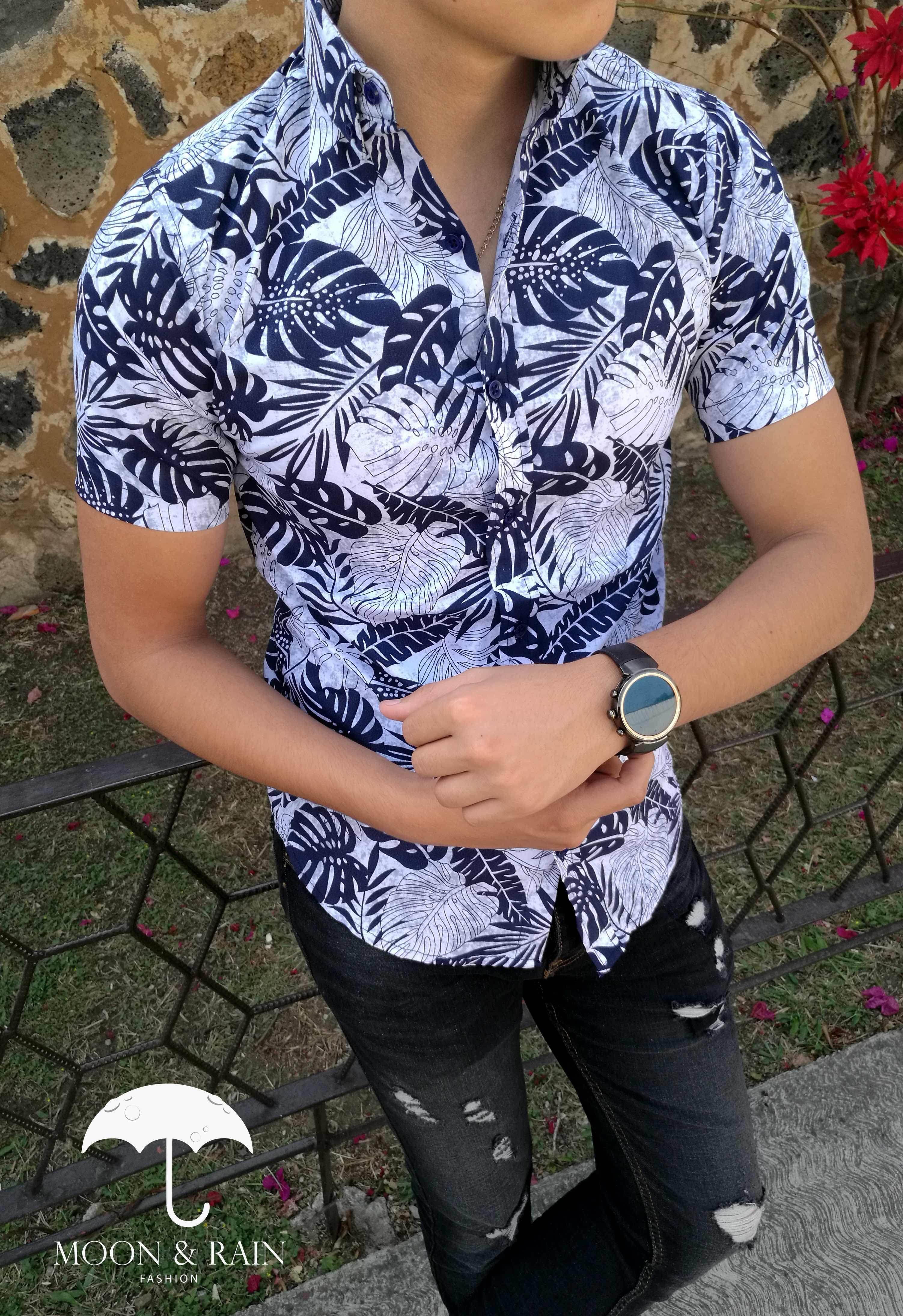 Camisa Blanca Flores Azules 0abf19ba905