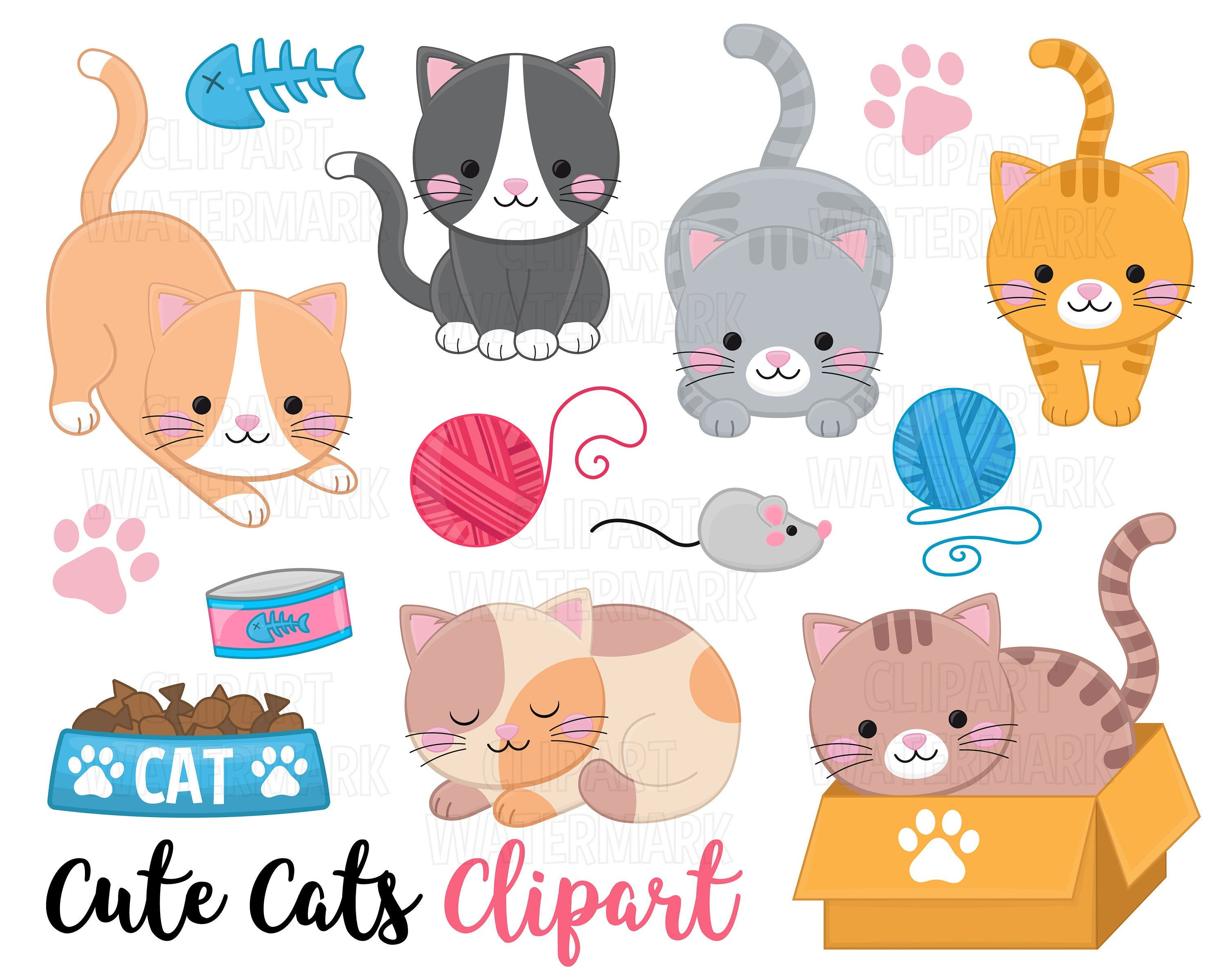 Cats Clipart Cute Kittens And Cats Clip Art Pets Clipart Etsy Cat Clipart Clip Art Kittens Cutest