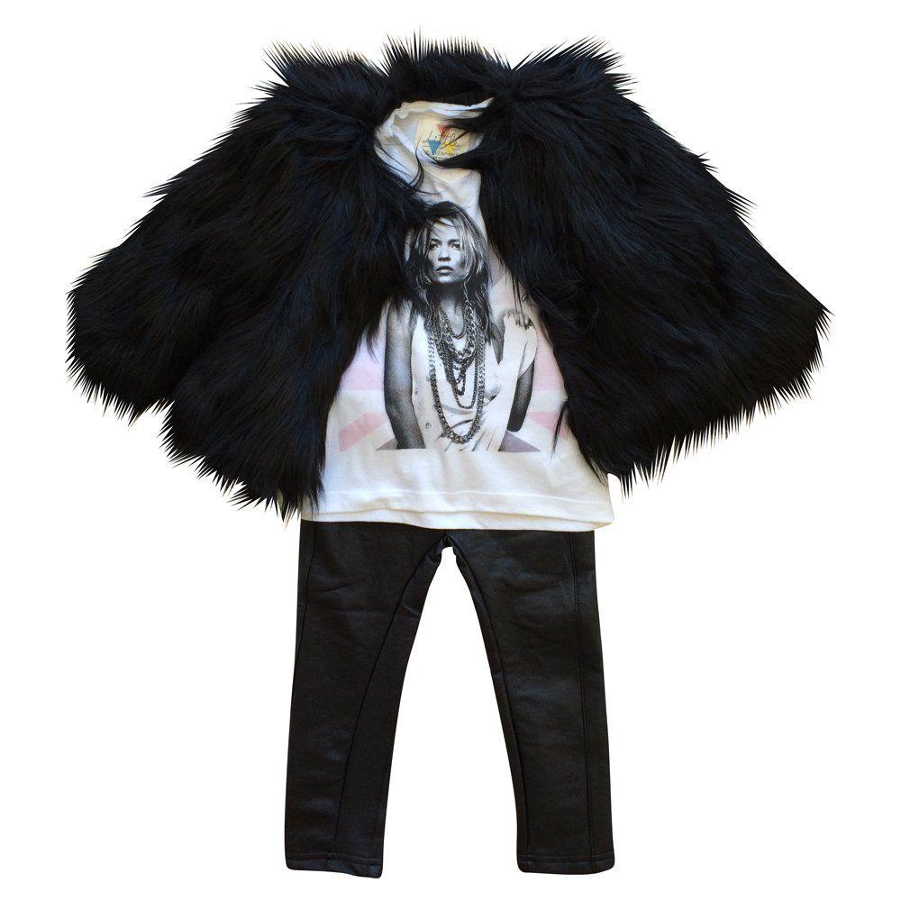 Amazon.com: Appaman Little Girls Faux Fur Coat Black: Clothing ...