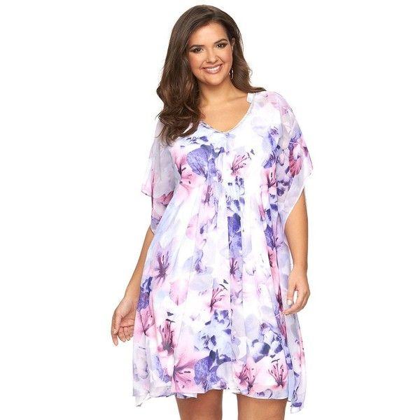 Plus Size Jennifer Lopez Embellished Caftan Dress 60 Via Polyvore Featuring Dresses Lt Purple Kaftan V Neck
