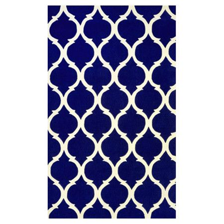 Anchor your living room seating group or define space in the den with this artfully hand-tufted rug, showcasing a quatrefoil trellis motif for eye-catching a...