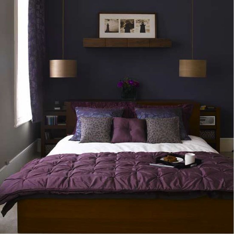 Paint Colors For Small Bedroom: Choice Of Colors Combination : Purple Bed  Cover Classic Pendant