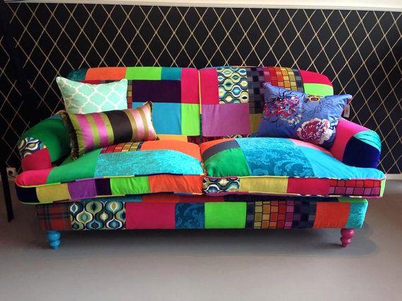 Sofá Patchwork colores jugosos | Cabecera pintada, Labor de retales ...