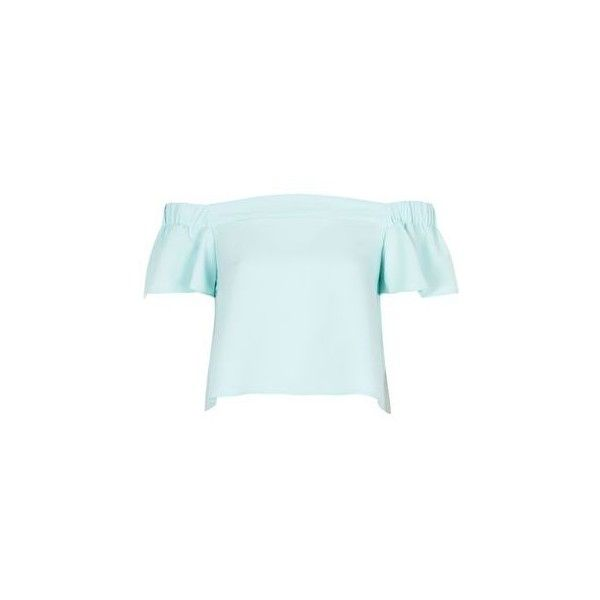 TopShop Petite Bardot Top (€41) ❤ liked on Polyvore featuring tops, ice blue, short sleeve tops, petite tops, woven top, topshop and ruched top