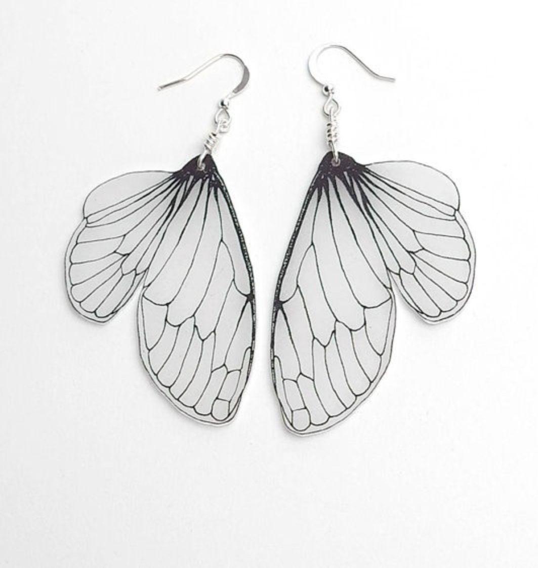 Butterfly earrings shrink plastic jewelry wing jewelry