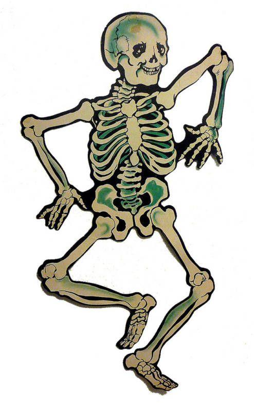 Vintage Halloween Decorations 1956 Dennison Skeleton Die Cut Decoration