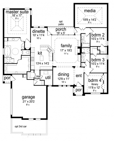 Traditional Style House Plan 4 Beds 3 Baths 2768 Sq Ft Plan 84 594 How To Plan Dream House Plans House Plans