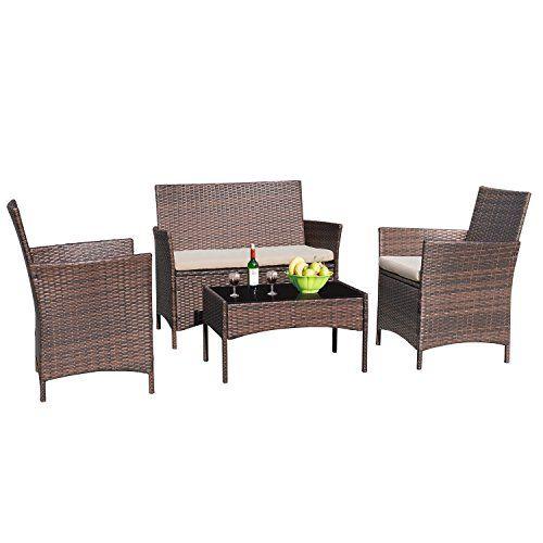Devoko 4 Pieces Patio Conversation Set Porch Furniture Garden Rattan Sofas Sets Clearance Outdoor