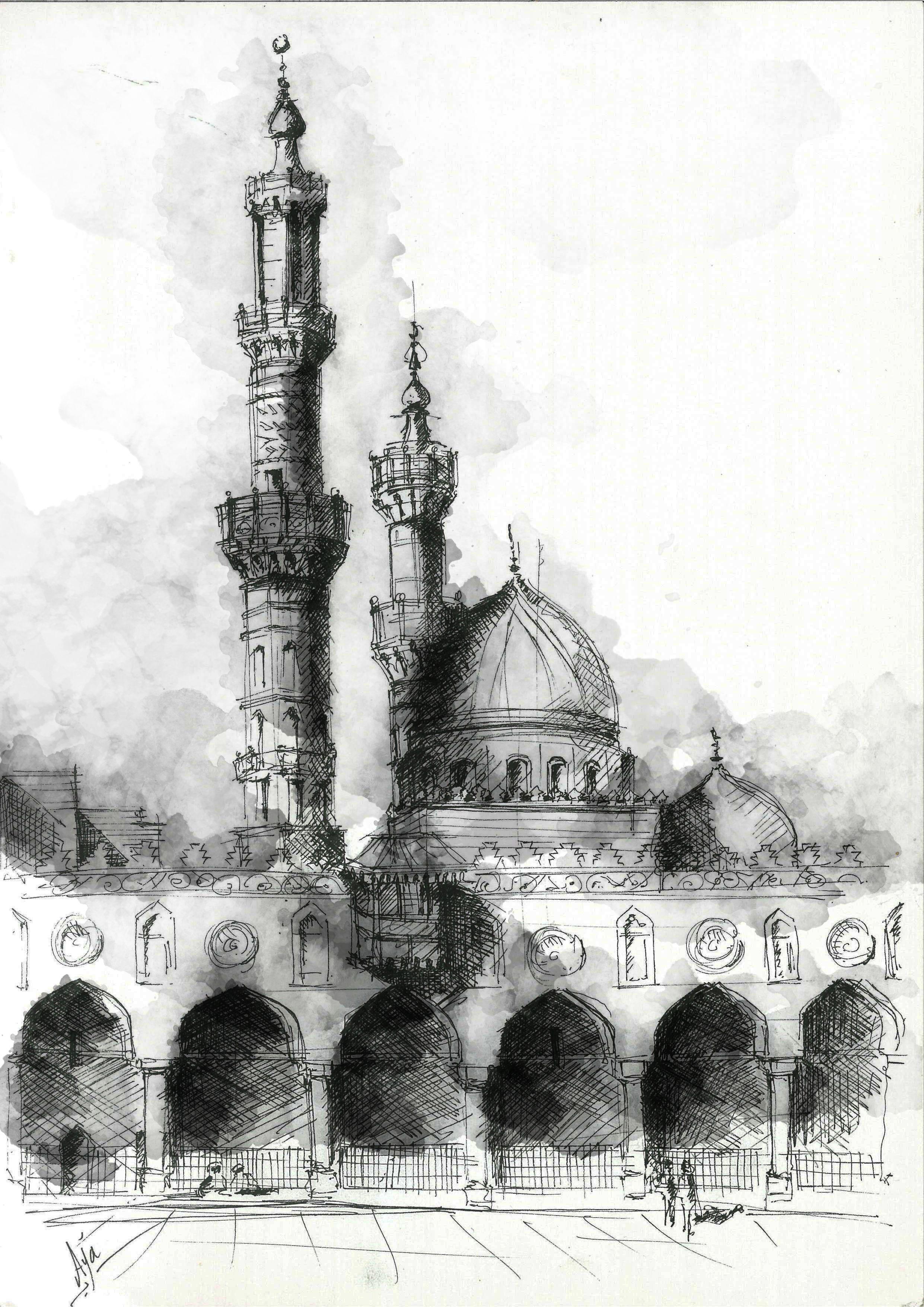Courtyard of al azhar mosque located on al azhar street - Architektur zeichnen ...