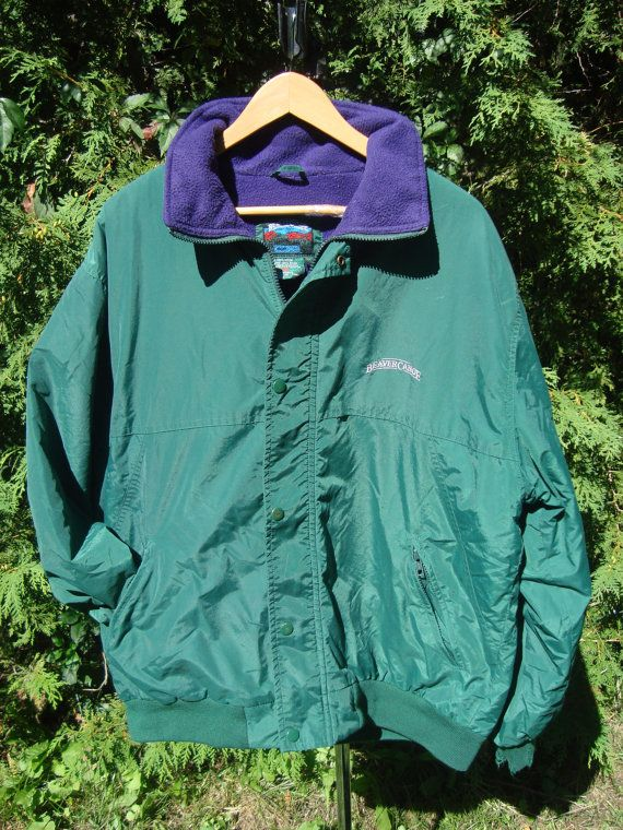 Beaver Canoe Vintage Jacket Winter Parka Fleece by FleecenStuff