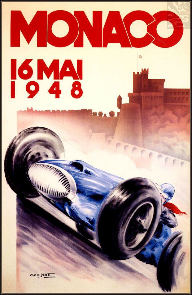 Monaco Grand Prix 1948 Vintage Poster Print Retro Style Car Racing Decor Art