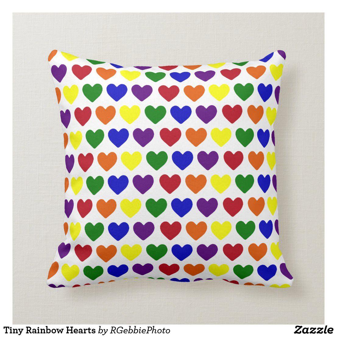Tiny Rainbow Hearts Throw Pillow Zazzle Com In 2020 Throw Pillows Rainbow Heart Custom Pillows