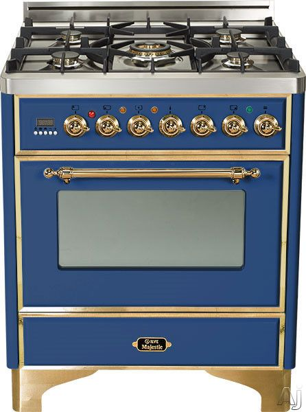 Ilve Um76dvgg 30 Traditional Style Gas Range With 5 Open Burners Dual Triple Flame Burner European Convection Oven Manual Clean Rotisserie Warming Drawer