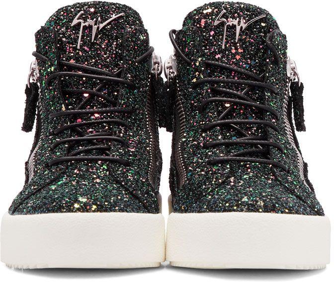 f459f5de58106 Giuseppe Zanotti - Black Glitter May London High-Top Sneakers ...