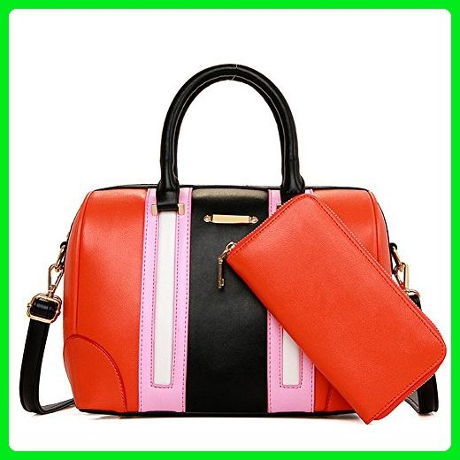 Oudy Womens Contrast Color Boston Handbag PU Leather Shoulder Tote ... 5008231cf032d