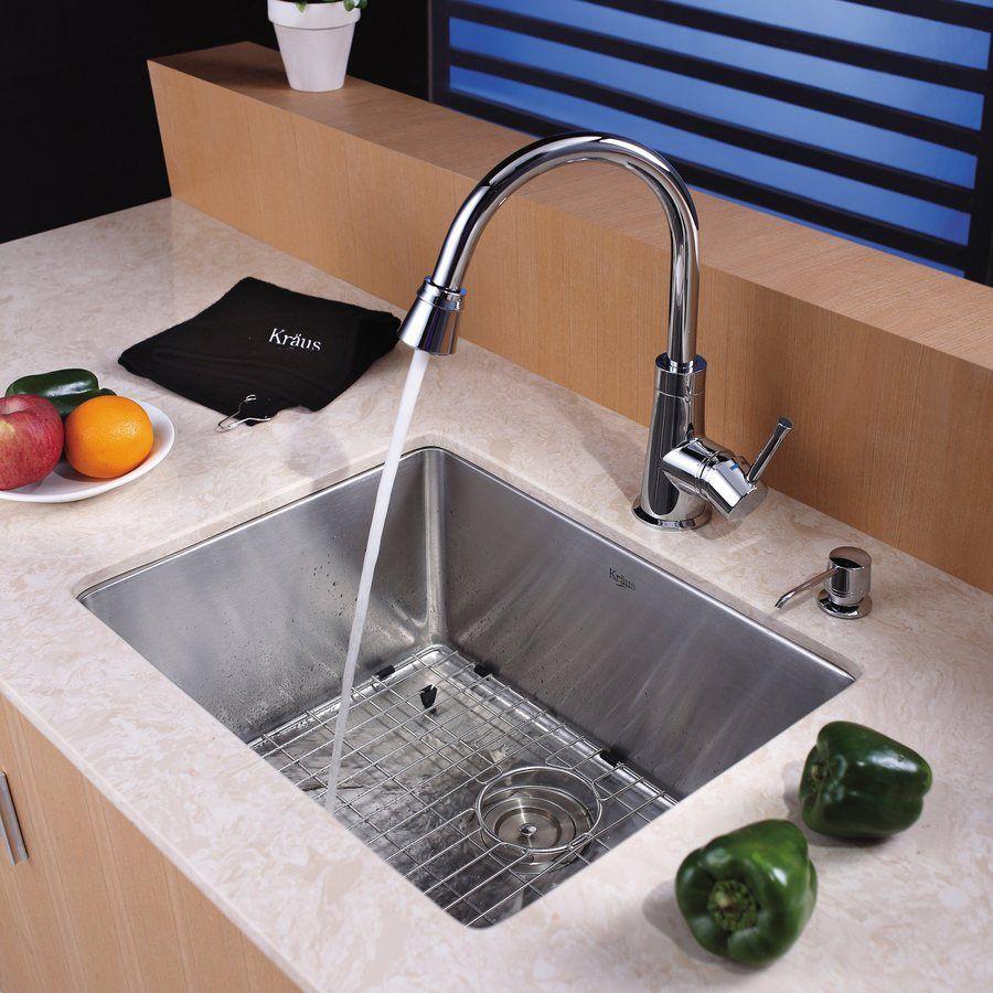 Kraus Standart Pro Undermount 23 In X 18 In Stainless Steel Single Bowl Kitchen Sink Lowes Com Undermount Kitchen Sinks Sink Double Kitchen Sink