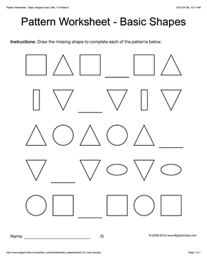 Pattern worksheets for kids - black & white basic shapes, 1 ...