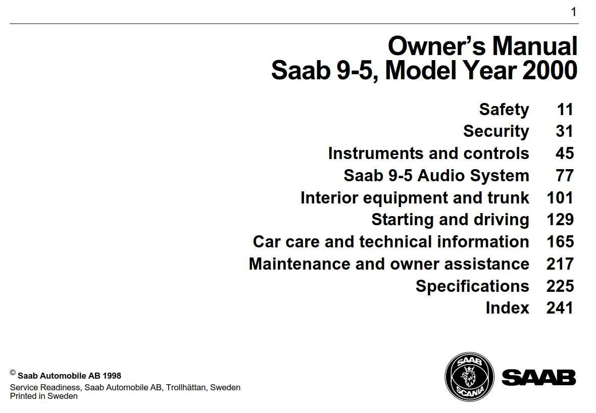 Saab 9 5 2000 Owner S Manual Has Been Published On Procarmanuals Com Https Procarmanuals Com Saab 9 5 2000 Owners Manual Owners Manuals Manual Car Care