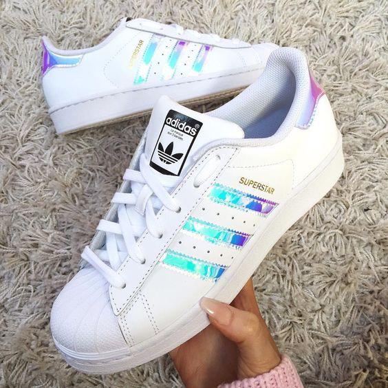 adidas superstar white metallic silver