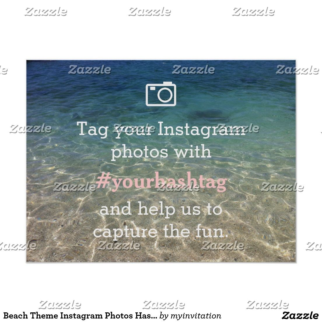 Beach Theme Instagram Photos Hashtag Wedding Sign Zazzle