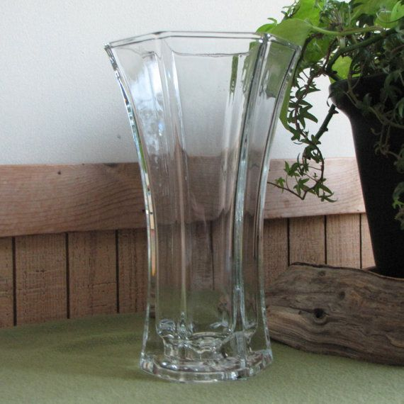 Hoosier Glass Crystal Vase 4040 Fluted Flower Vase 1970s Crystal