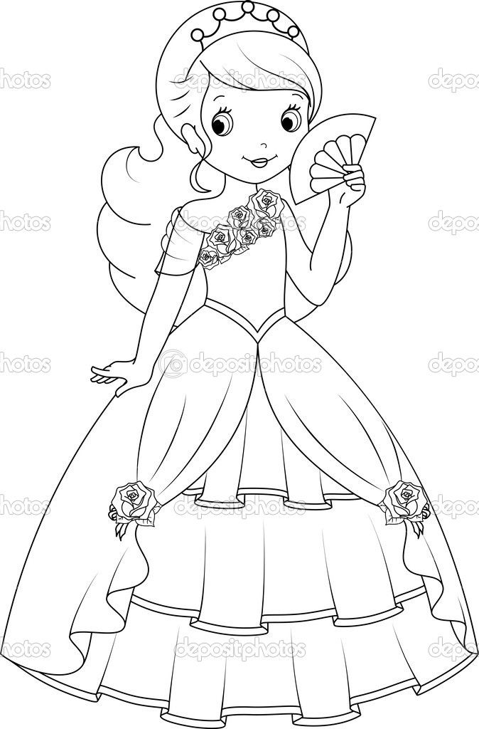 Depositphotos 49999689 Princess Coloring Page Jpg 674 1024 Barbie Drawing Princess Coloring Pages Disney Princess Coloring Pages