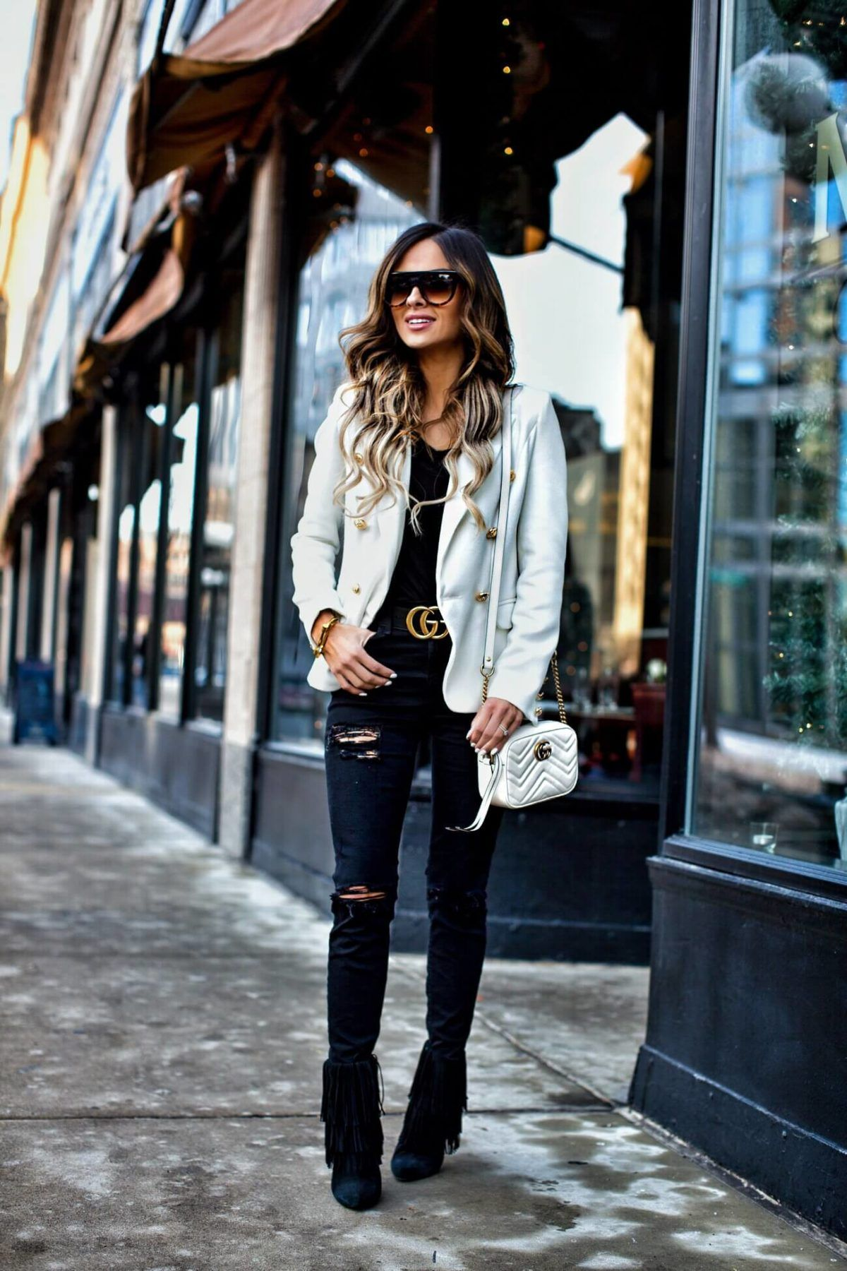 73275f444f5a fashion blogger mia mia mine wearing a white blazer and white gucci marmont  bag