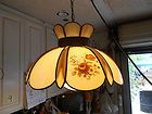 For Sale - VINTAGE TIFFANY STYLE HANGING LAMP  LIGHT FIXTURE! WITH GORGEOUS FLORAL SCENE!