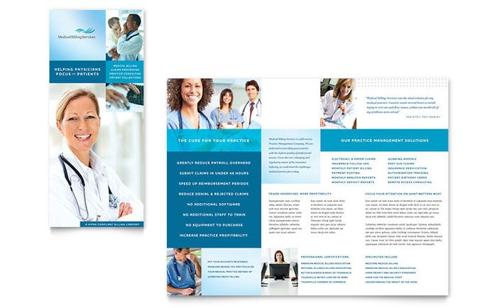Medical Billing And Coding Tri Fold Brochure Design Template By