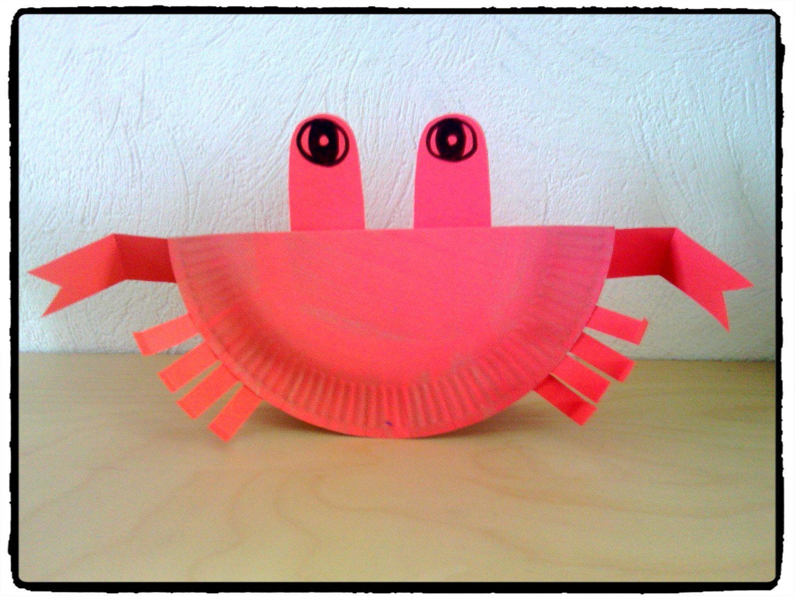 Top crabe, mer, océan, assiette en carton, bricolage enfant | Animaux  OP92