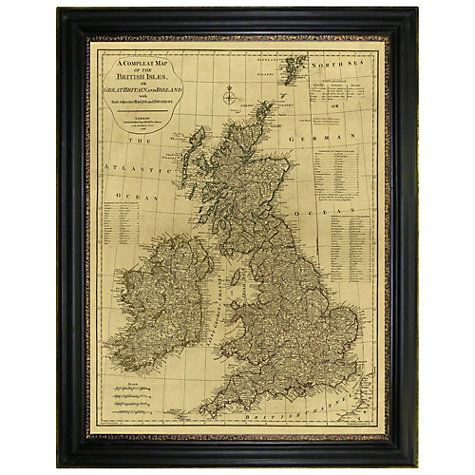 Brookpace, Vintage Maps Collection - British Isles Framed Print, 117 ...