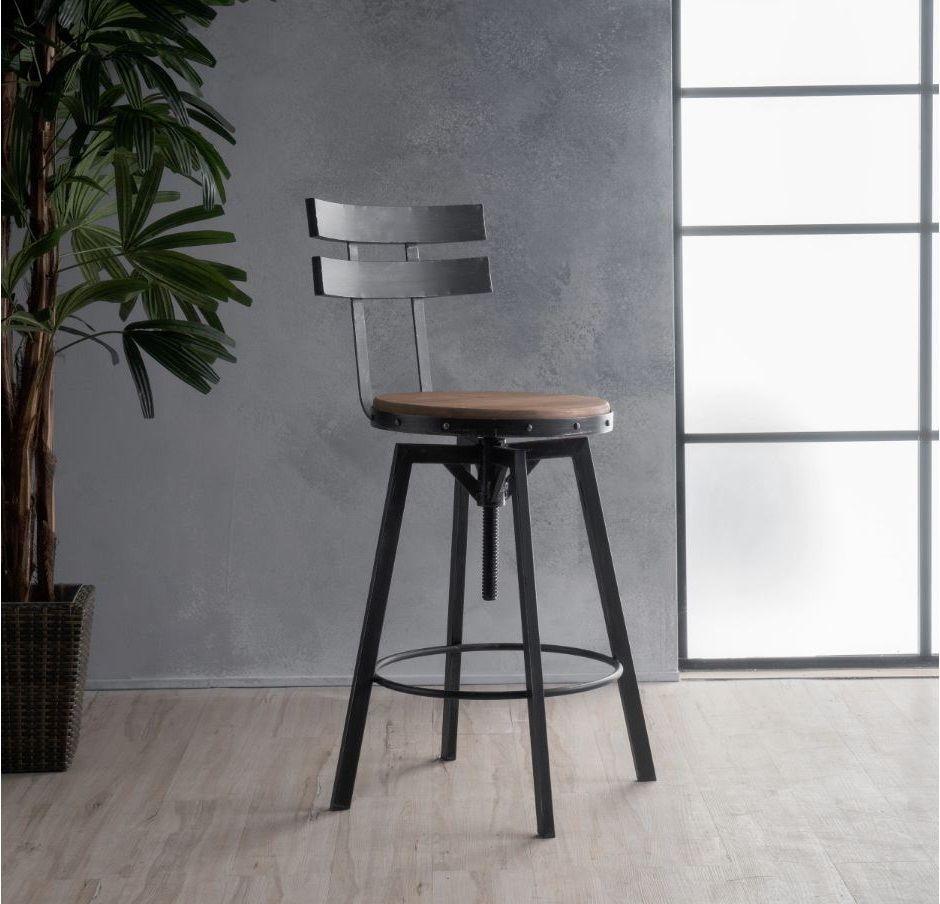 Industrial metal bar stool adjustable wood back kitchen high chair dining rustic ckhome industrialrusticmodern