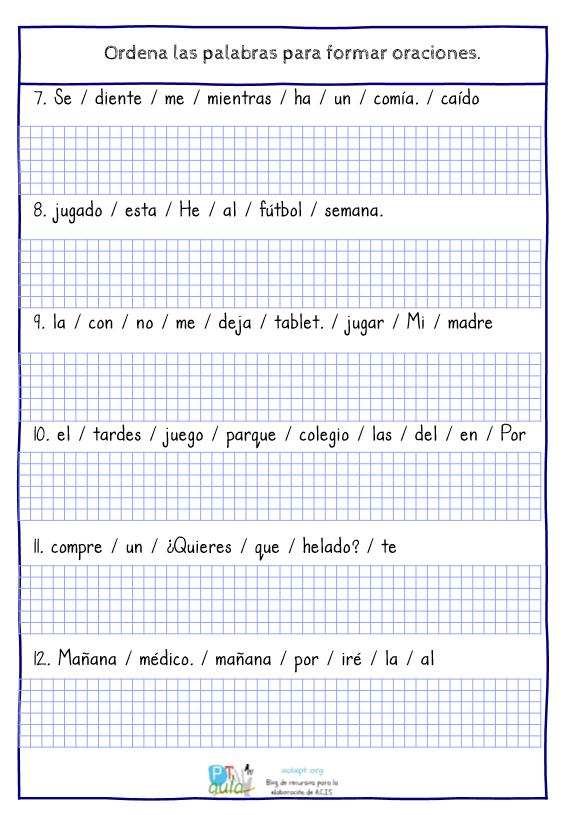 Las Tareas De Ordenar Palabras Para Componer Frases Con