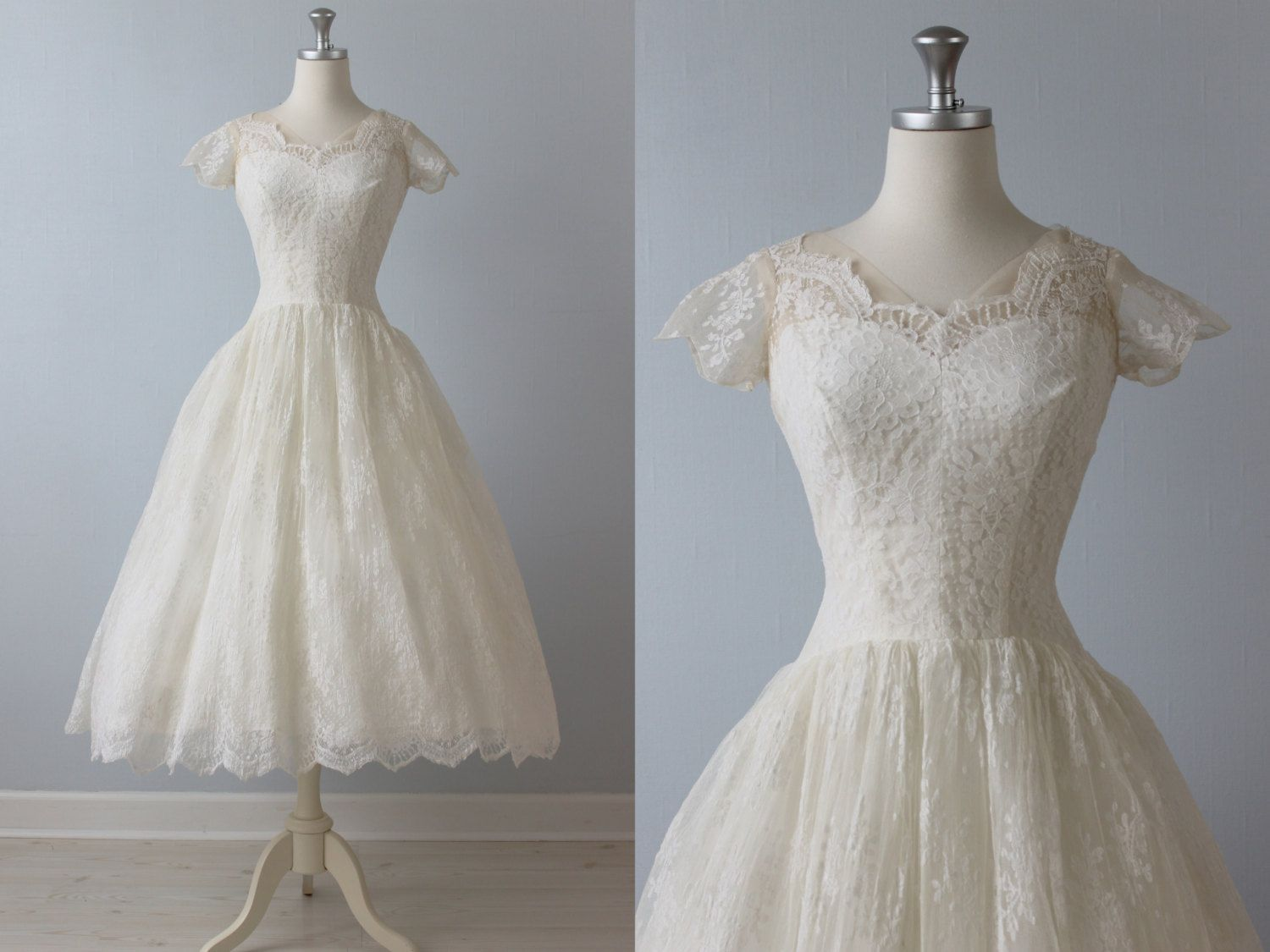 Tea length wedding dress 1950s wedding dress 50s lace for 1950 wedding dresses tea length