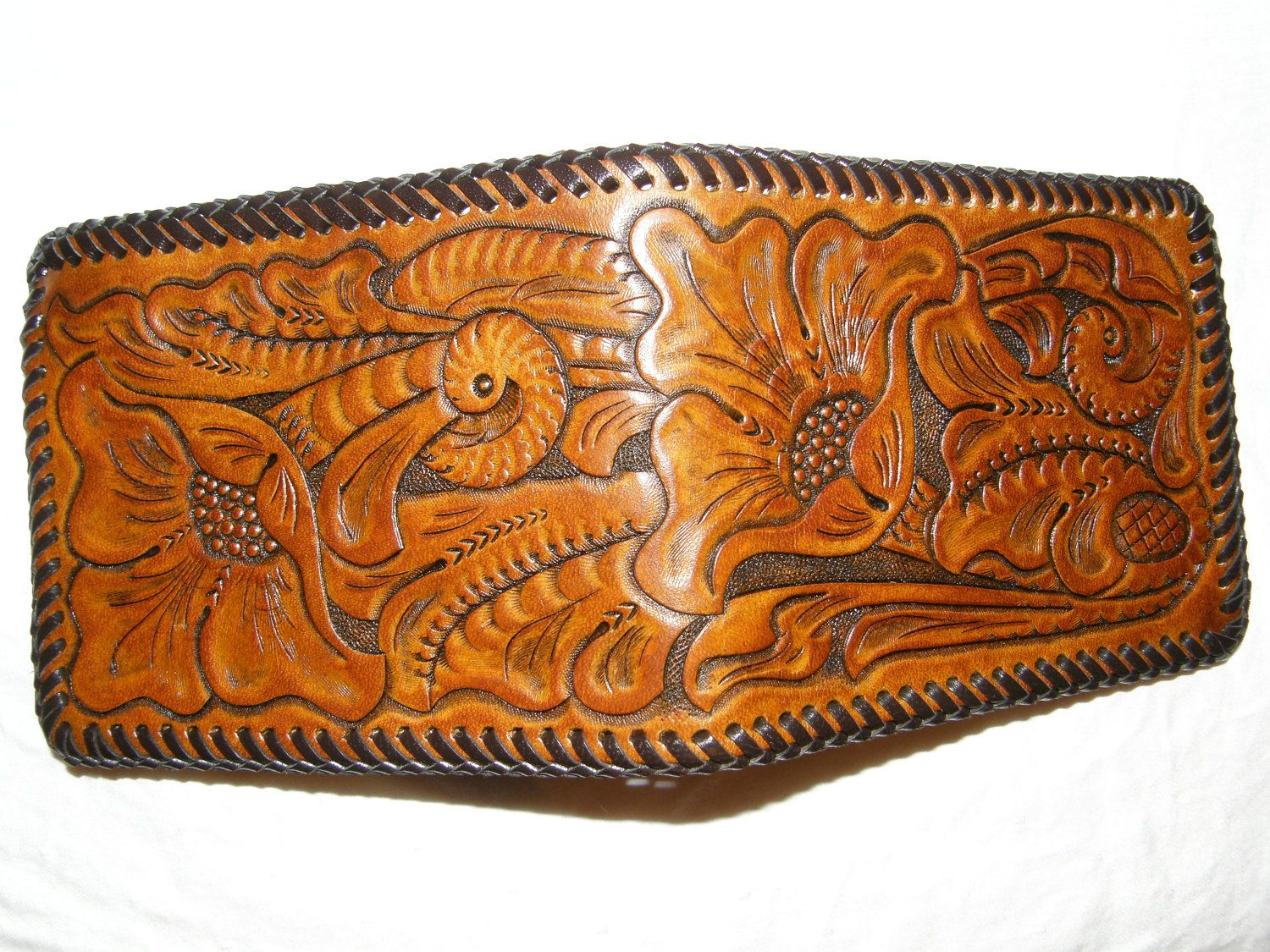 270b8c738712 Hand-Tooled Leather Wallet / Tan Cactus Flower. | aztec style ...