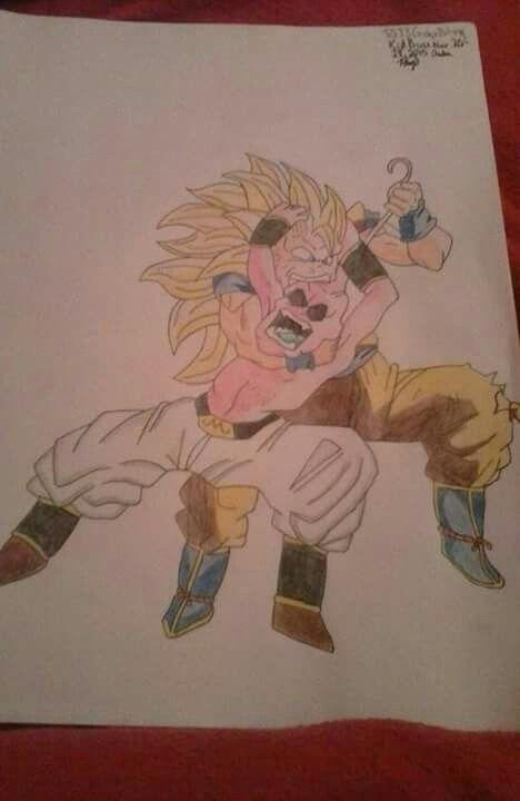 a colored pencil drawing of ssj3 goku biting kid buu