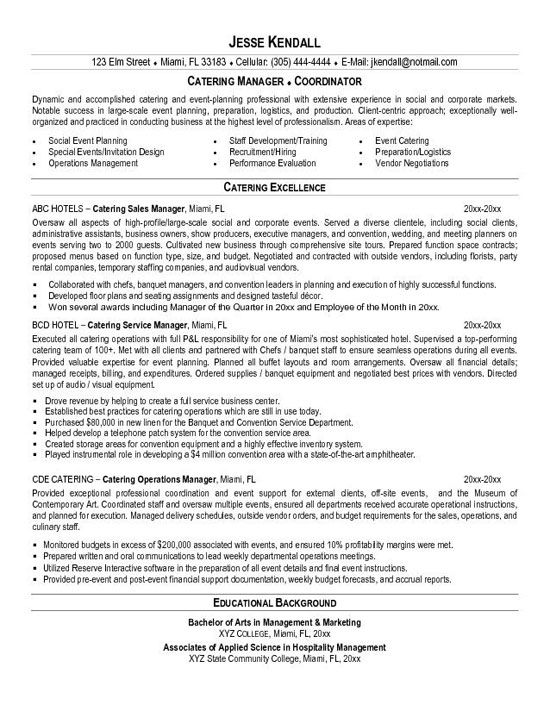 catering resume example for executive level management professional with experience in catering and food management