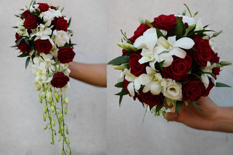 Bukiet Slubny Wiazanka Slubna Biel Czerwien Wedding Bouquets Wedding Floral Wreath