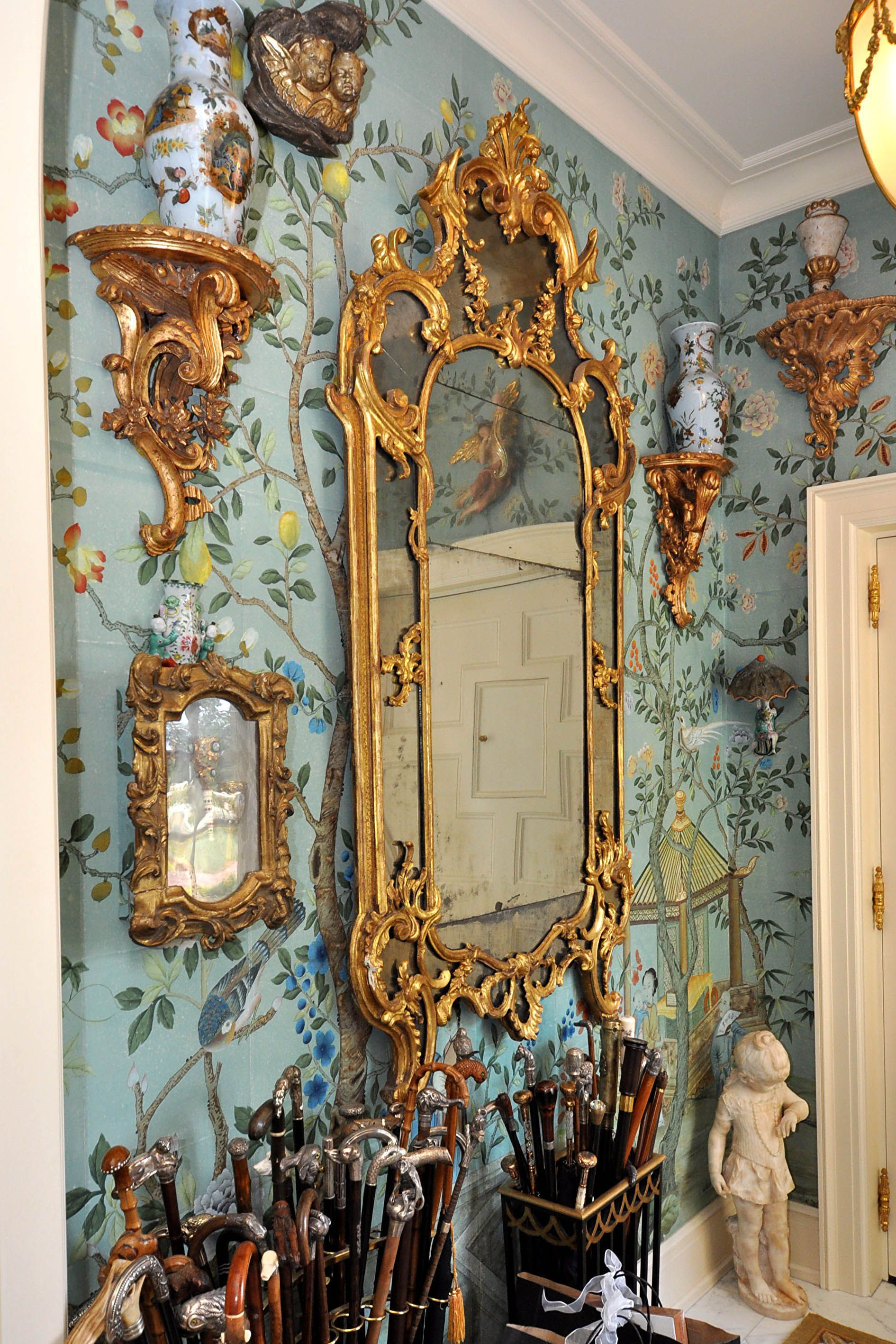Hand painted Chinoiserie wallpaper at the Norcliffe estate