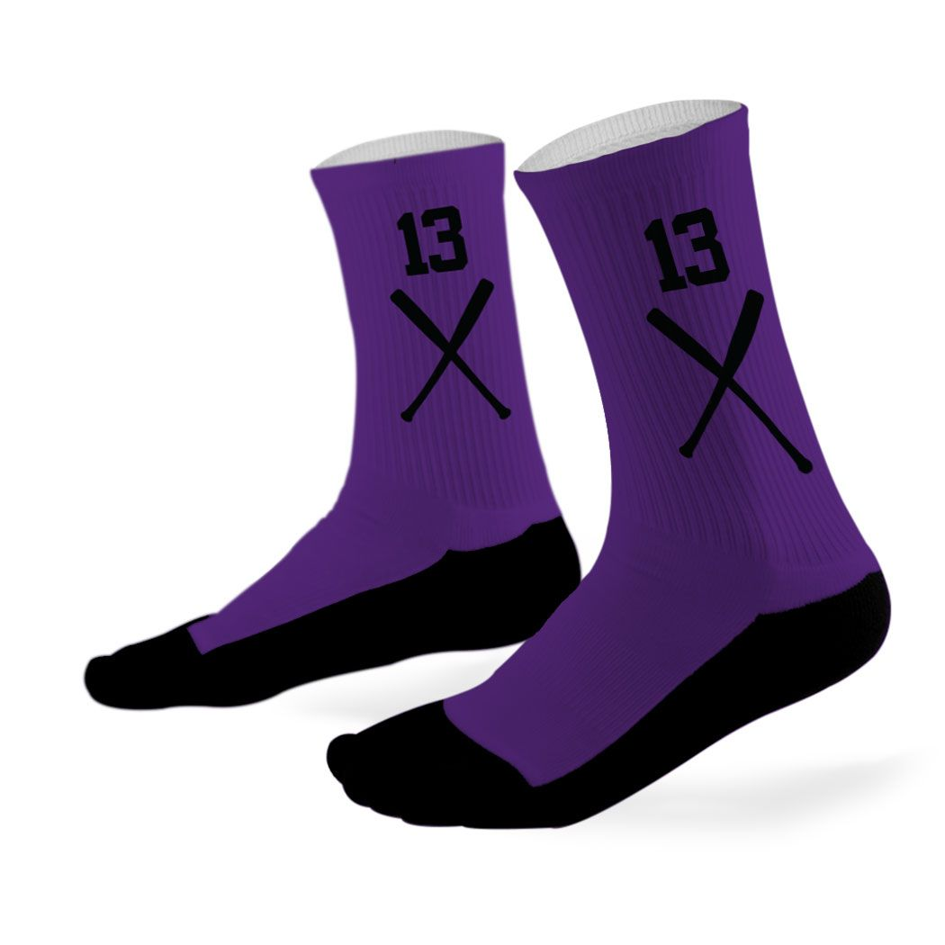 Baseball printed mid calf socks baseball bats team colors