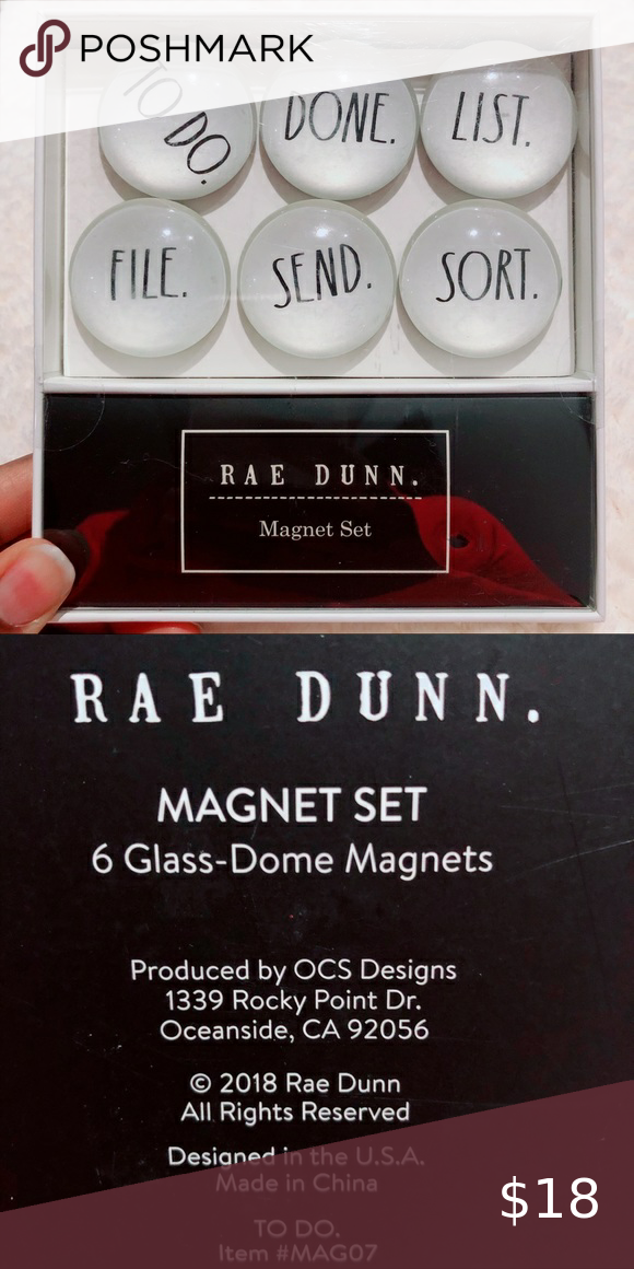 RAE DUNN 6 GLASS-DOME MAGNET TO DO ITEM #MAG07