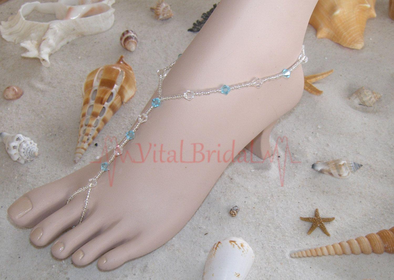 how to make foot jewelry for beach wedding Beach wedding Barefoot