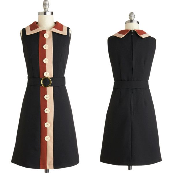 Just in at Frances....Add a sprinkle of sophistication into today's grammar lesson by wearing this retro inspired collared dress.  Nutmeg- and cinnamon-hued details garnish this look's belted, button-adorned, lined silhouette, bringing spice to your T-straps and cardigan.