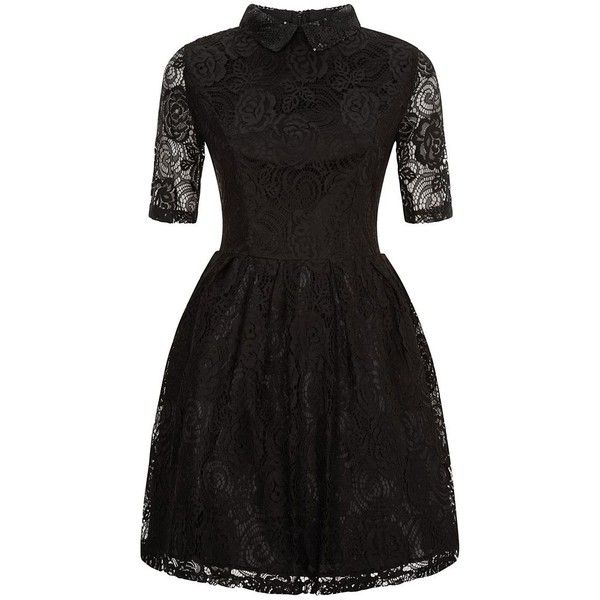 Poppy Lux Black Embellished Collar Lace Skater Dress ($60) ❤ liked on Polyvore featuring dresses, lace cocktail dress, cocktail mini dress, fit & flare dress, lace-sleeve dress and lace fit and flare dress