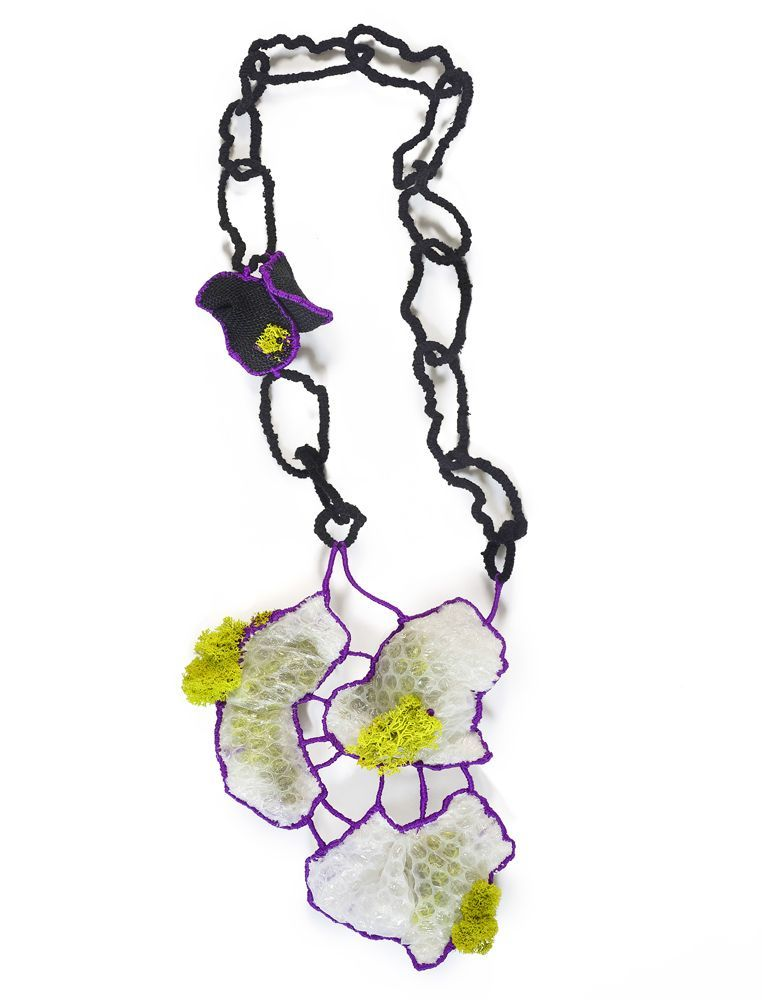"Eleftheria Spantidaki, ""Mind the Stone"", 2016-Bubble wrap, cotton and linen threads, moss, burlap sack, glass beads"