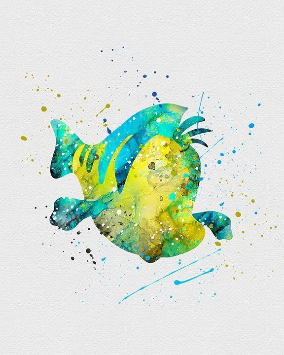 Flounder little mermaid watercolor art print disney - Peinture princesse disney ...