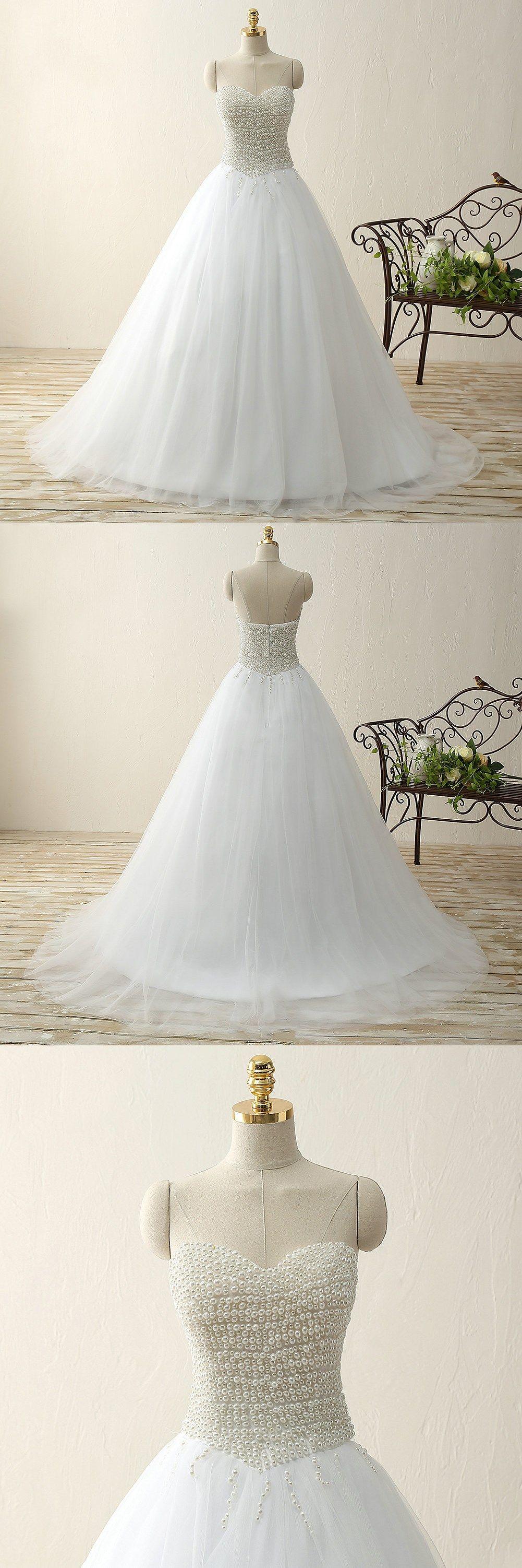 Romantic wedding dresses sweetheart pearl ball gown sweep train