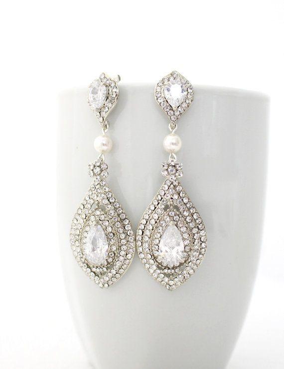 Silver Tone fashion mariée ART NOUVEAU Teardrop Dangle Boucles d/'oreilles Autrichien Cristal